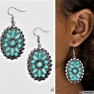 Prairie Poppy - Turquoise & Silver Earrings